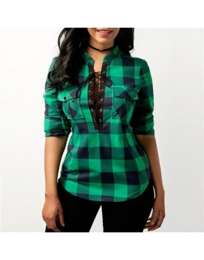 Women Plaid Shirts 2018 Spring Long Sleeve Blouses Shirt Office Lady Cotton Lace up Shirt Tunic Casual Tops Plus Size Blusas...