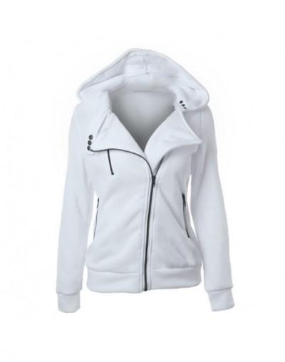 Autumn Winter Women Hoodies Casual Solid Long Sleeve Zipper Fleece Sweatshirts Sportswear Outwear Mujer Sudaderas XXXL - Whi...
