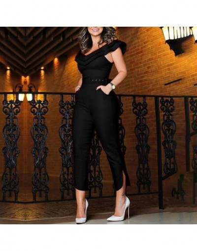 2019 New trendy sexy Off Shoulder solid slim Women's Ruffles Clubwear Bodysuit Party Jumpsuit Romper Long Trousers - Black -...