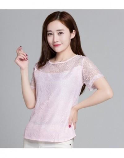 Summer Women White Lace Blouse Short Sleeve Plus Size Korean Crochet Round Neck Hollow Out Tops Shirt Camisas Femininas Qz* ...