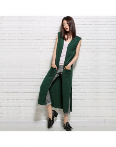 2018 womens winter Cashmere sweaters and Long Cardigan women High Quality Warm Female thickening Sleeveless Solid - Green - ...