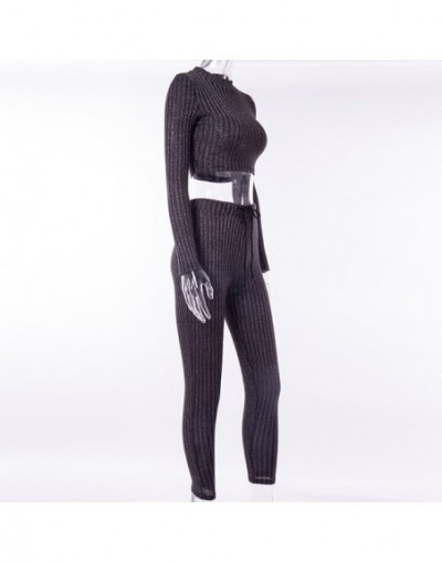 Knitted Bodycon Sexy Black 2 Piece Set Women Mock Neck Drawstring Stretchy Long Sleeve Woman Sets Crop Tops Pencil Pant - bl...