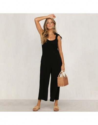 Sexy Lace Up Backless Casual Loose Rompers Womens Jumpsuit Summer Trousers Overalls Cotton Jumpsuits For Women 2019 - Black ...