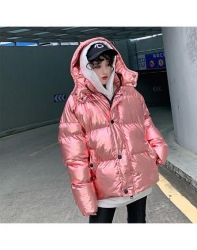 Streetwear Super Fire Silver Shiny oversized Winter jacket Women Bread Cotton clothing Thin and light Down cotton Coat Women...