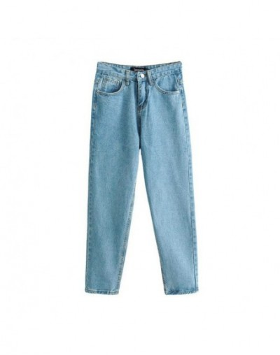 women boyfriend jeans pants korea style button pocket blue denim jeans cozy loose casual fashion female jeans FN81 - Blue - ...