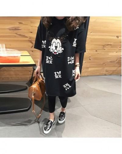 Cartoon Mouse Runway T Shirt Short Sleeve Casual Cartoon Mouse Print Women T Shirt Femme Tops Oversize Black T-Shirt XL-5XL ...