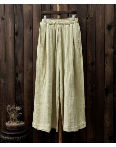 Women Wide Leg Pants Elastic Waist Plus Size Women Trouser 2019 Summer New Casual Cotton Linen Soft Loose Pants - Linen - 44...