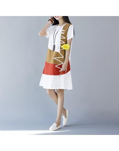 Summer Dress Women Beach Dress Short sleeve O neck Patchwork A-Line casual Cotton Linen dress vestidos Plus size lady Clothi...