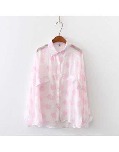 Womens Tops 2019 Summer Autumn Korean Long Sleeve Chiffon blouse Women Vintage polka dot Sunscreen Shirt - Pink - 4T41222560...