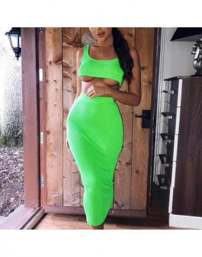 Neon Green Sleeveless Ribber Knitted Dress Pencil Sexy Club Party Midi Dresses Sling Crop Top High Waist Bodycon Dress - Gre...