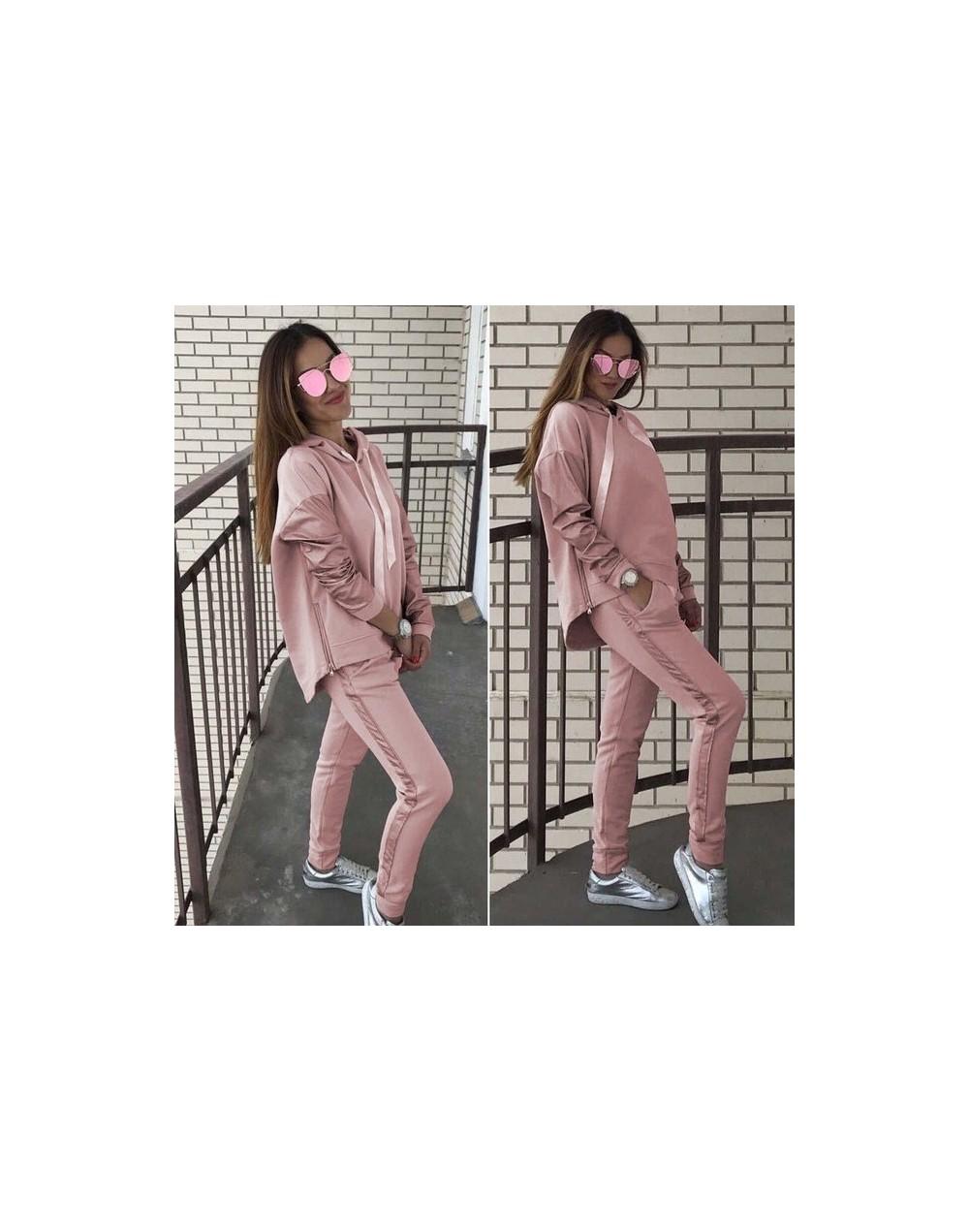 Fashion Cotton Tracksuit Women Loose Clothes Outfits Autumn Winter Patchwork Long Sleeve Hoodies+Long Pants 2 Piece Set - Pi...