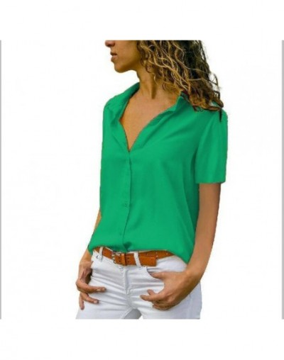 Women Solid Chiffon Blouse Shirt Short Sleeve Blouse V-neck Shirts Casual Tops Blouse Chemisier Femme Blusa Mujer de Moda 20...