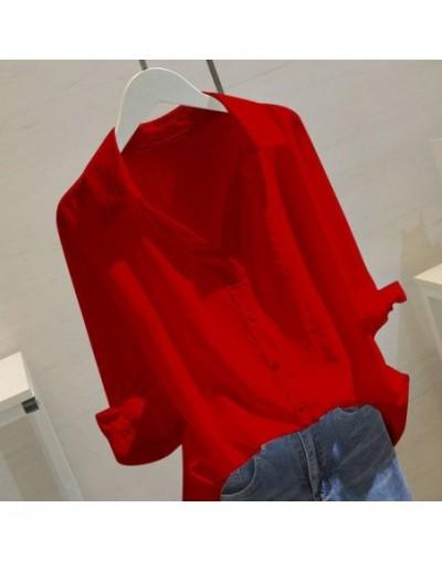 White Women Tops And Blouses 2019 Autumn Elegant Half Sleeve Solid V-Neck Cotton Blouse Female Work Wear Shirts Blouse Plus ...