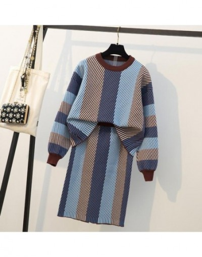 Newest Warm Sweater Skirt Two Piece Set 2019 Autumn Winter Irregular Striped Knitted Pullovers +Skirts Graceful Sets Plus Si...
