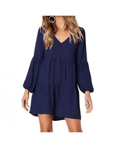 New design Women Solid Lantern Long Sleeve solid dress soft V-Neck Draped Mini Dress Women's Fashion Autumn dresses - Blue -...