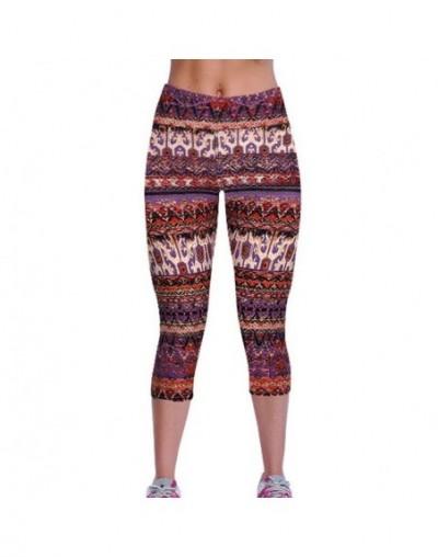 Summer Plus Size Casual Women Leggings Elastic Slim Printed Capris Leggings Trousers Plus Size Women Pants - Q46 - 4I3762325...