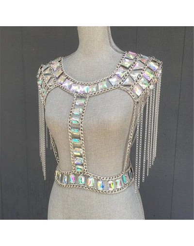 Women's Body Chest Crystal Crop Top Punk Tops Metal Chain Tassel Camis Clubwear Cami Female Tank Tops Rhinestone - huan cai ...