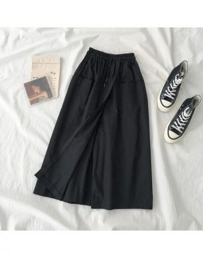 Safari Harajuku Style Calf-length Pant Women Casual Loose High Waist Drawstring Khkai Black Cotton Pant Vintage Flare Skirt ...