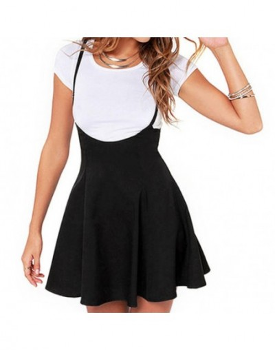 Women Summer Club Party Beach Mini Suspender Overalls Zipper Skirt Solid Black Mini Skirt - 4O4118233173