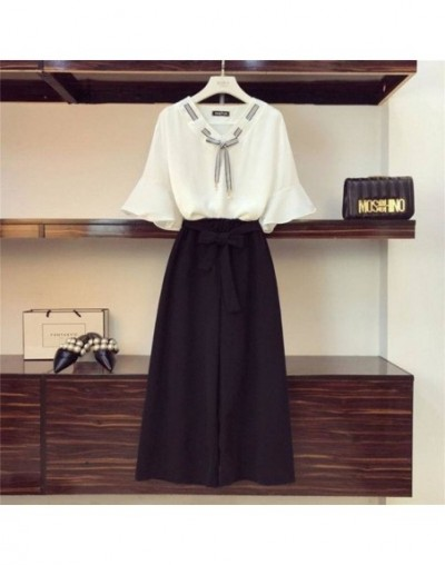Two Piece Set Korean Flare Short Sleeve V Neck Blouse and Lacing Bow Elastics Waist Wide Leg Pants Suits 78355 - black sets ...