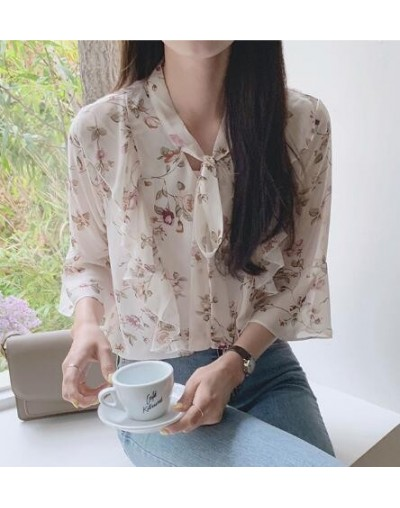 Chiffon Blouses Shirts Women Top Korean Preppy Style Clothes Long Sleeve Floral Printed Ruffled Top Bow Tie Flower Blouse 50...