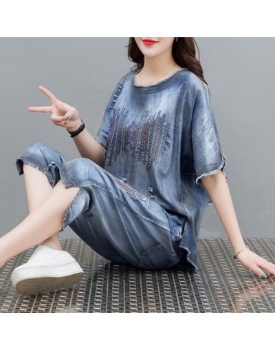 Blue Denim Suit 2 Piece Set Plus Size Women Cowboy 2019 Summer Outfits Embroidery Top and Pant Suits Loose co-ord sets Cloth...