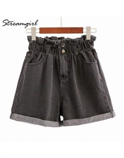 Women High Waist Shorts Jeans Cotton Elastic Waist Loose Short Jeans Wide Leg White Jean Shorts Women Summer Vintage - Black...