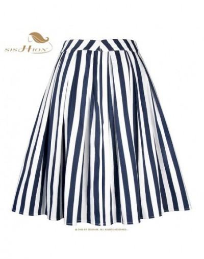 2019 Women Summer Pleated Skirt VD1107 Swing Vintage Blue Red Striped High Waist Skirt Plus Size - Blue - 444124724827-1