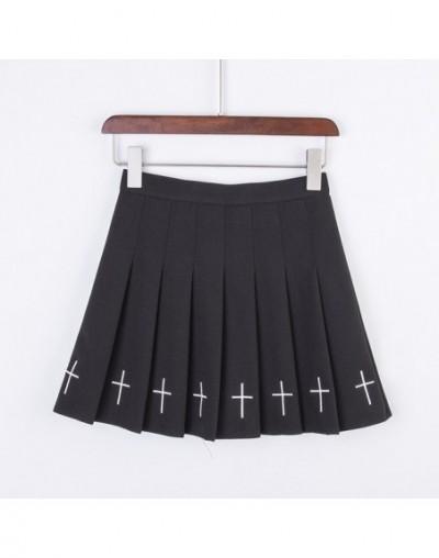 S-XL 2019 Pleated Skirt Women Harajuku Sweet Fresh Feeling High Waist Pleated Skirt Elastic Waist Cross Embroidery Skirt - B...