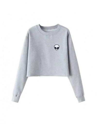 Aliens Printing Hoodies Sweatshirts harajuku Crew neck Sweats Women Clothing Feminina Loose Short Fleece Jumper Sweats - Gra...