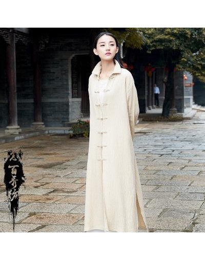 Spring Summer Cotton And Linen Chinese Style Solid Color Long Casual Vintage Women Jacket Outwear - Beige - 4P3973355550-1