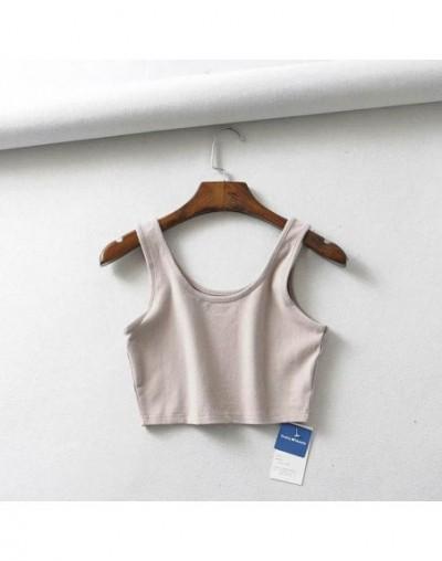 2019 sexy women summer crop tops sleeveless short cotton u collar knitted bar - Ivory - 4I3004986169-3