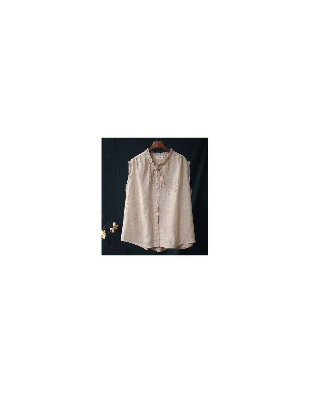 Casual Style Shirts Art ear-collar Solid Linen Sleeveless Female Blouse 2019 Summer Fashion Button Loose Women Blouse - Beig...