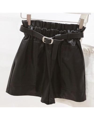 Autumn Winter Women Leather Shorts Female Casual Big Pockets Belt Elastic High Waist PU Leather Shorts Womens Clothing - Bla...