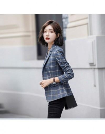 Plaid Notched slim blazer Single breasted Office lady Casual outwear elegant monteau femme Autumn womens blazers long sleeve...
