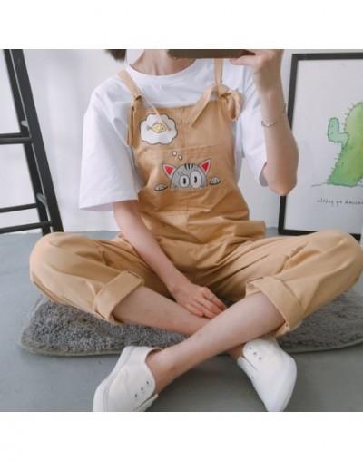 Harajuku Kawaii School Students Jumpsuit Women Korean Style Cat Printing Pockets Trendy Womens Jumpsuits Summer Breathable C...