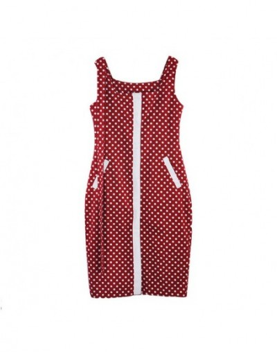 Women Plaid Spaghetti Strap Dress Office Lady High Waist Sashes Dress Single Breasted Sling Dresses - Red Dot - 4H4124217185-2