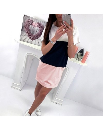 Women's Summer Dress Casual Loose Short-sleeved Mini Dress Women's 2019 Pink Black Lace Color Dresses Women Ladies Dress - P...