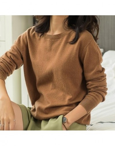 18 new women o-neck cashmere sweater autumn winter solid color slim pullover knit bottoming shirt round - gold camel - 4O302...