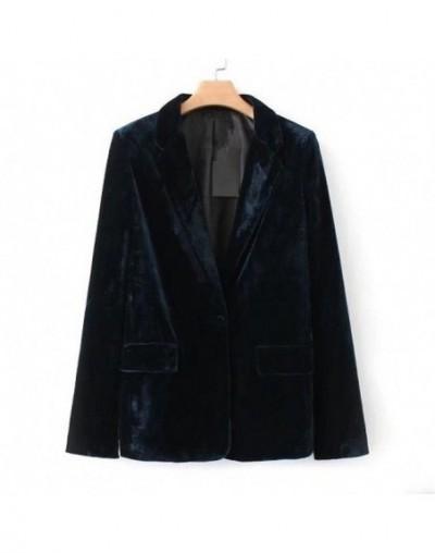 Spring Autumn Velvet Blazer Vintage Women Slim Long Sleeve Ladies Blazer Ol Formal Work Small Suit Jacket - Green - 44305043...