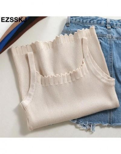 new summer knit Tank Tops Women sexy girls camisole slash-neck top sleeveless t shirt short female basic slim camis top - Be...