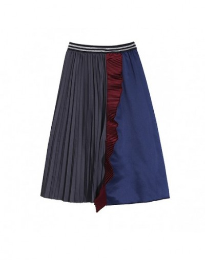 New 2019 Korean Style Women Multicolor Patchwork Pleated Skirt A-Line Knee Length Elastic Waist Female Casual Party Skirts 4...