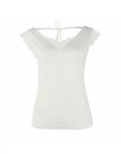 Women Sexy Vest Lace Tops 2019 New Fashion Ladies Casual Camisole Tank Sleeveless V-Neck Solid Slim T-Shirt Tops Hot - White...