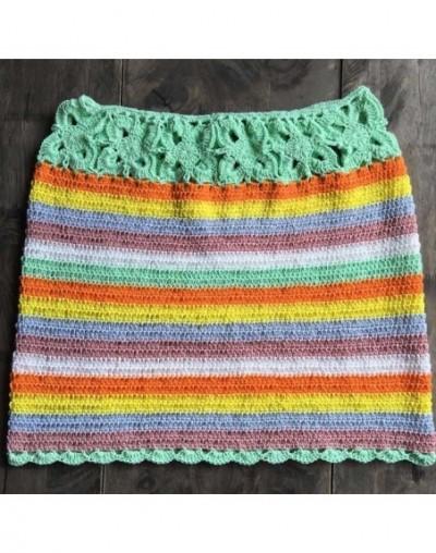 Rainbow BOHO vintage mini skirts crochet sexy beachwear floral lace handmade swimwear women skirt striped summer cotton - gr...