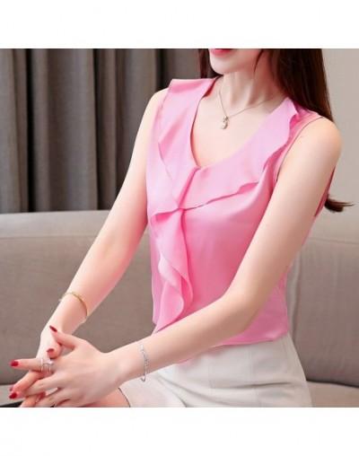 women blouses summer blouse women 2019 V-neck plus size sleeveless chiffon blouse women shirts womens tops and blouses Z07 5...