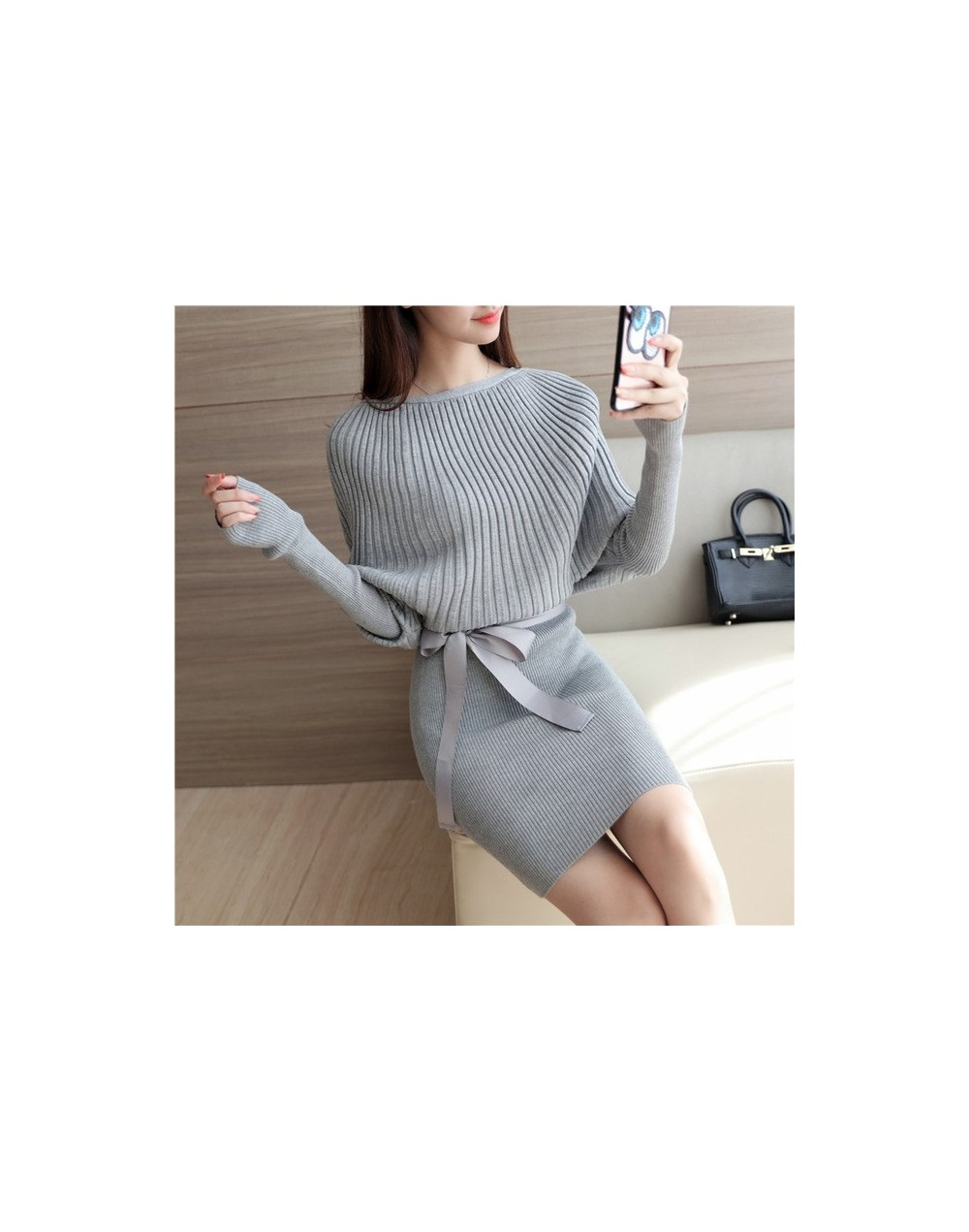 2017 Spring and Autumn New Women Korean ladies loose sweater Stretch Skirt - gray - 4J3800633048-2