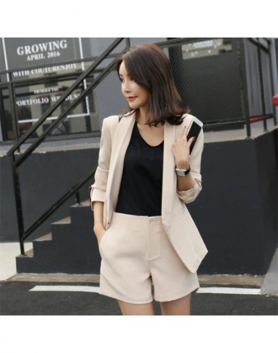 2018 Work Wear Short Pants Suit Women Summer Autumn Long -Sleeved Blazer With Shorts Ol Office Ladies Formal Suits Navy Khak...