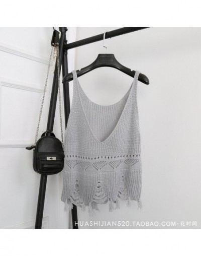 2019 Summer New Sexy V Neck Hole Tassel Tops Knitting Vest Solid Color Short Bottom Vests Women's Tank A362 - light gray - 4...