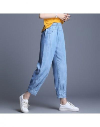 2019 Sping Summer Tencel Denim Jeans Woman High Elastic Waist Jeans Vintage Grils Jeans High Quality Ankle-Length Harem Pant...