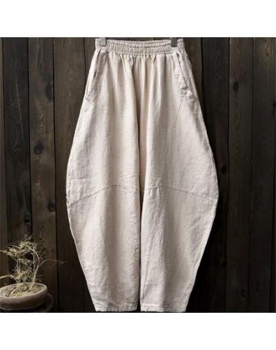 Women Cotton Linen Harem Pants Loose Trouser 2019 Autumn New Elastic Waist Solid Color Pockets Patchwork Women Pants - Linen...